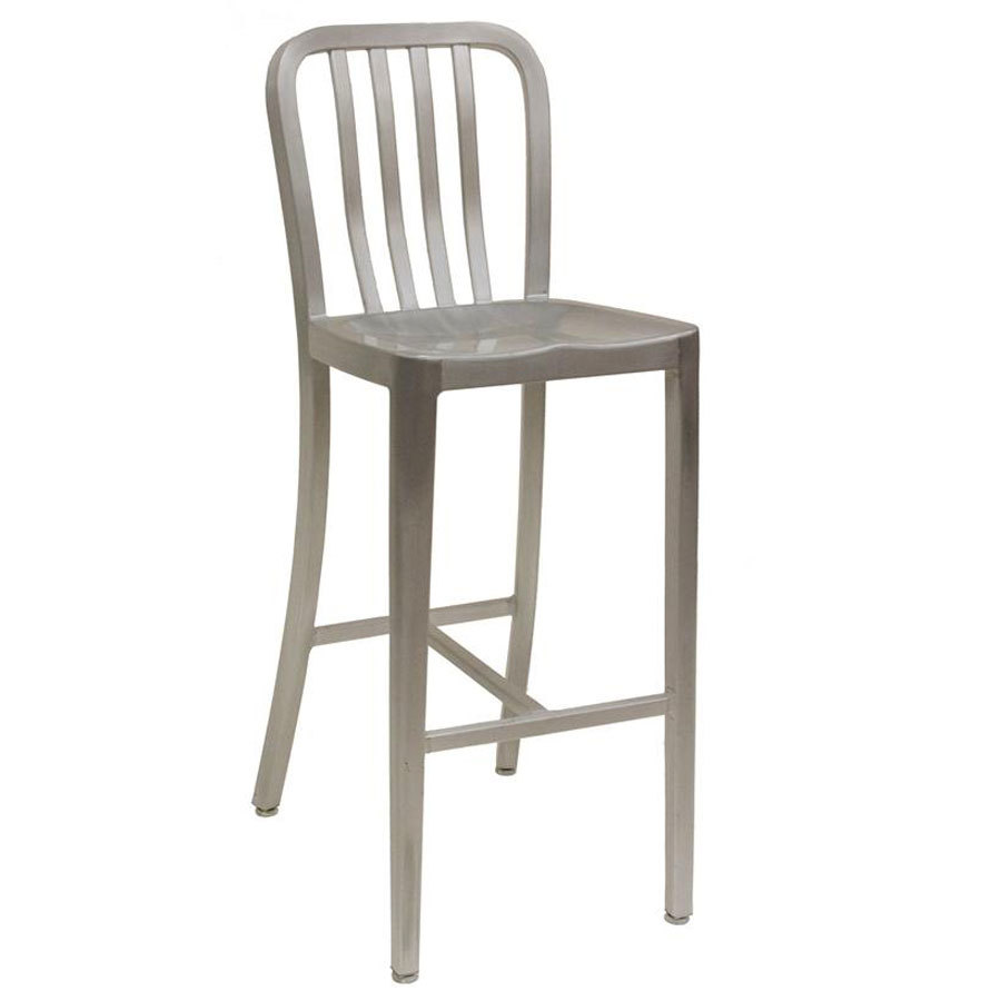 American tables seating 57 bs armless slat back aluminum bar stool