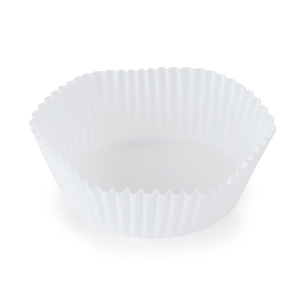 "Hoffmaster 610061 3"" x 1 1/4"" White Fluted Baking Cup - 500/Pack"