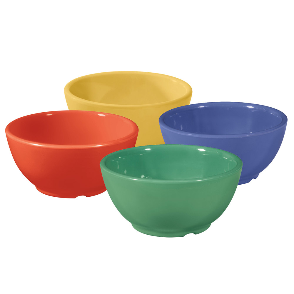GET B-525-MIX Diamond Mardi Gras 16 oz. Melamine Bowl, Assorted Colors - 24/Case