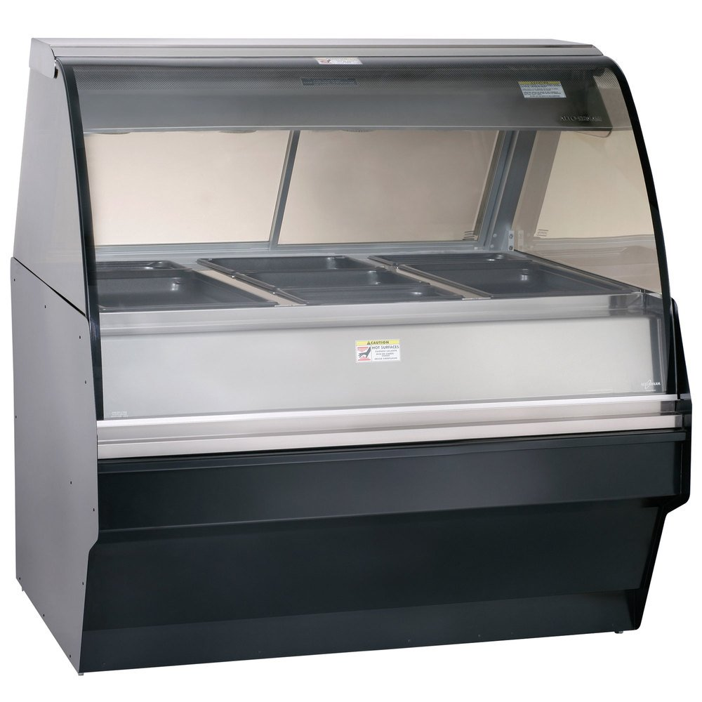 Alto-Shaam TY2SYS-48/P BK Black Heated Display Case with Curved Glass and Base - Self Service 48""
