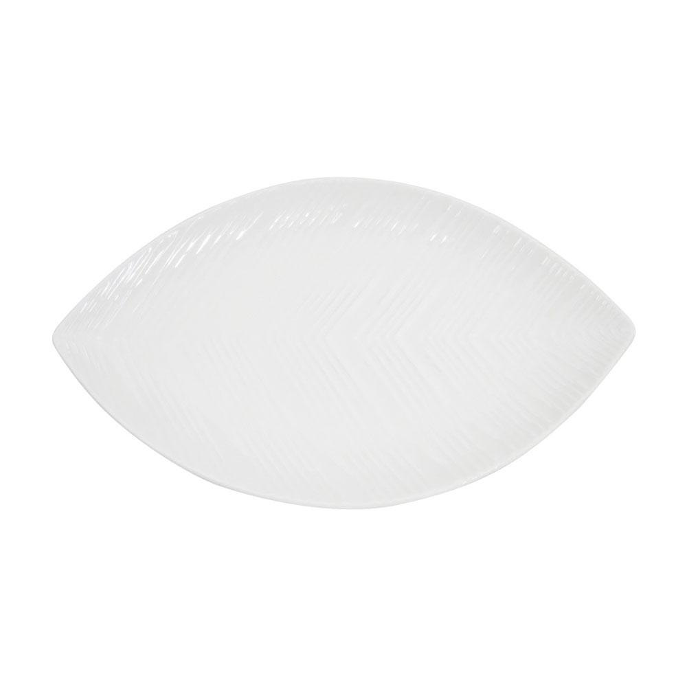 CAC LFD-12 Bright White Porcelain Leaf Dish - 12/Case