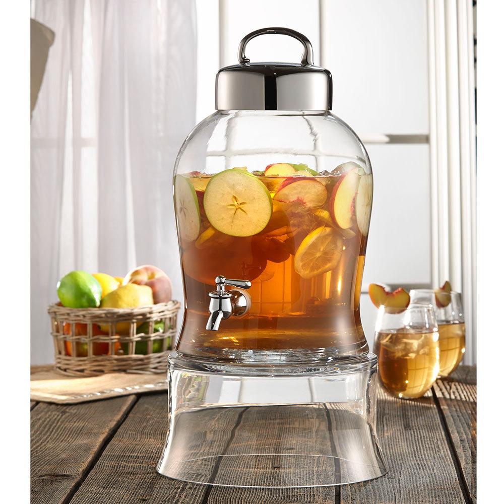 1 6 gallon bell jar glass beverage dispenser with glass stand. Black Bedroom Furniture Sets. Home Design Ideas