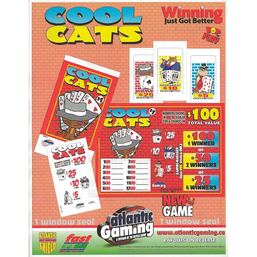 """""""Cool Cats"""" 1 Window Pull Tab Tickets - 285 Tickets Per Deal - Total Payout: $185 at Sears.com"""