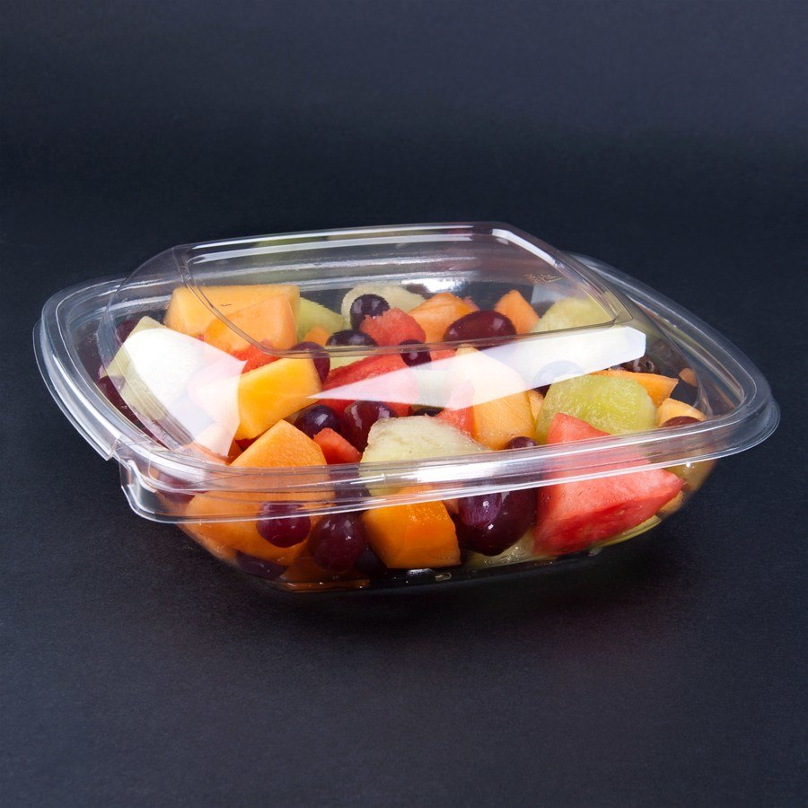 Sabert C15008TE250 8 oz. Clear Square Tamper Evident Bowl with Lid - 250 / Case