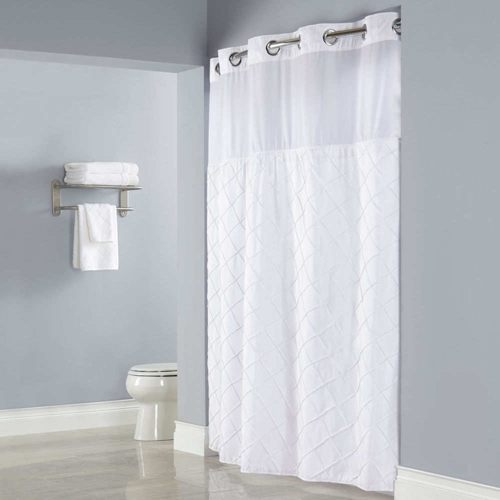 Hookless shower curtain with snap liner - Hookless Hbh12ptk01sl77 White Pintuck Shower Curtain With Chrome Raised Flex On Rings It S A Snap Polyester Liner
