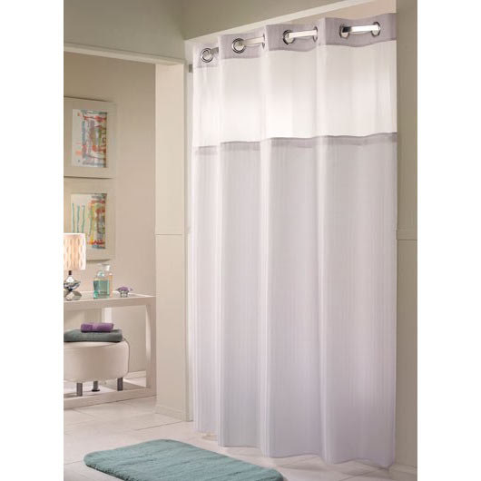 Hookless white double h shower curtain with chrome raised flex on