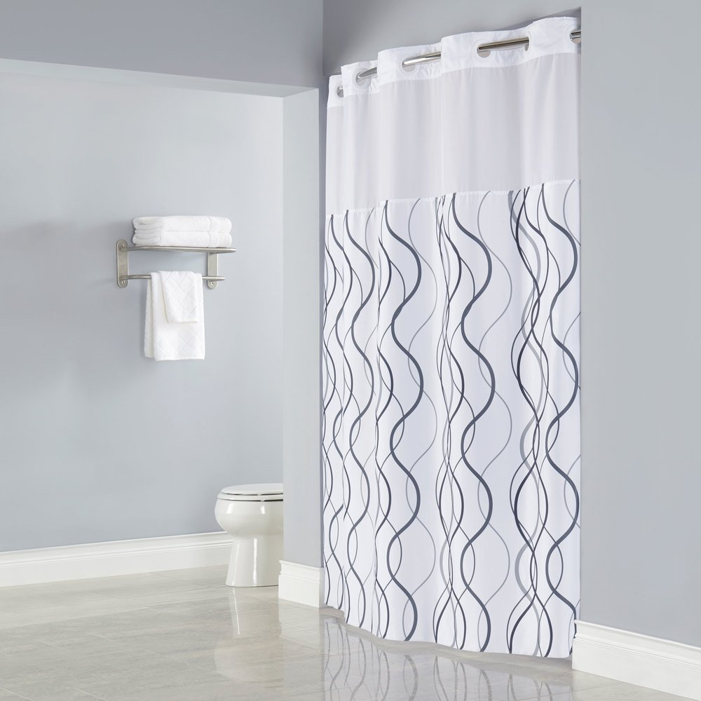 Hookless HBH49WAV01SL77 White With Gray Waves Shower Curtain Matching Flat Flex On Rings Its A Snap Polyester Liner Magnets And Poly Voile
