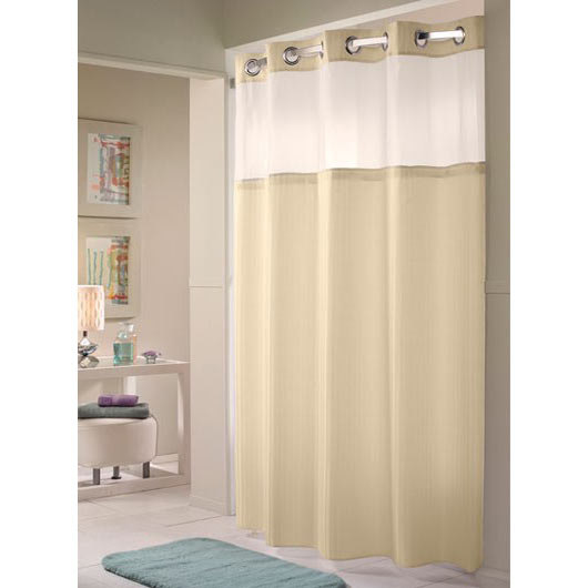 Hookless Beige Double H Shower Curtain With Chrome Raised