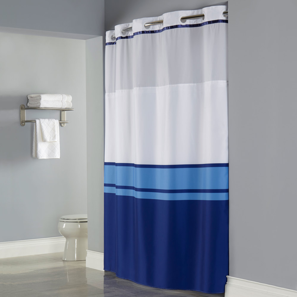 Hookless HBH49CBK01SL77 Blue Print Brooks Shower Curtain With Matching Flat Flex On Rings Its A Snap Polyester Liner Magnets And Poly Voile