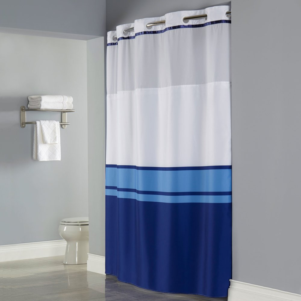 Hookless Hbh49cbk01sl77 Blue Print Brooks Shower Curtain With Matching Flat Flex On Rings It 39 S