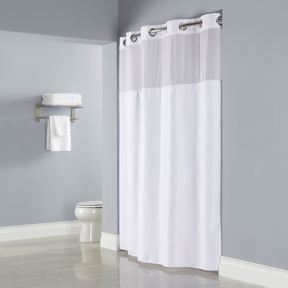 Hookless Hbh26mys01sl77 White Deliah Shower Curtain With Chrome Raised Flex On Rings It 39 S A