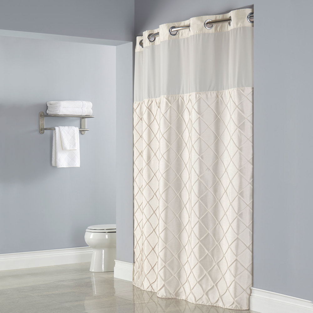 Hookless Beige Pintuck Shower Curtain With Chrome Raised Flex On Rings It 39 S A Snap Polyester