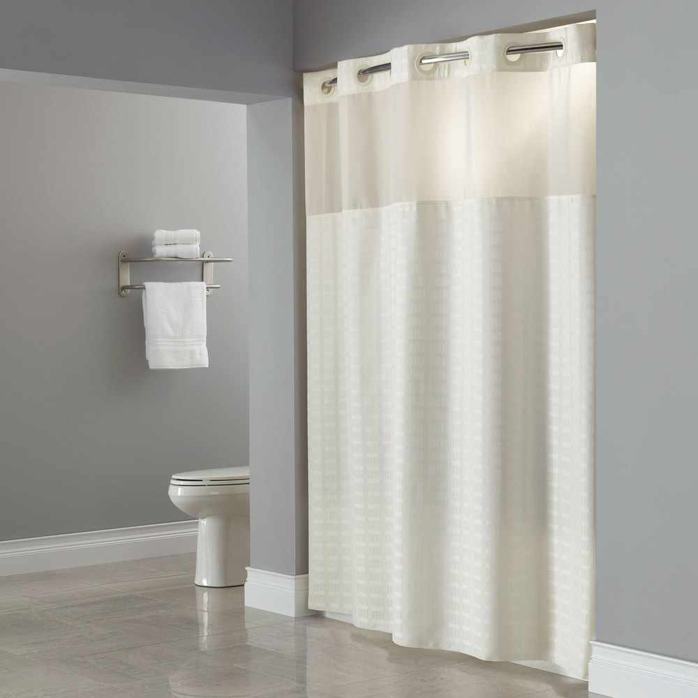 Hookless HBH43MYS05 Beige Madison Shower Curtain With