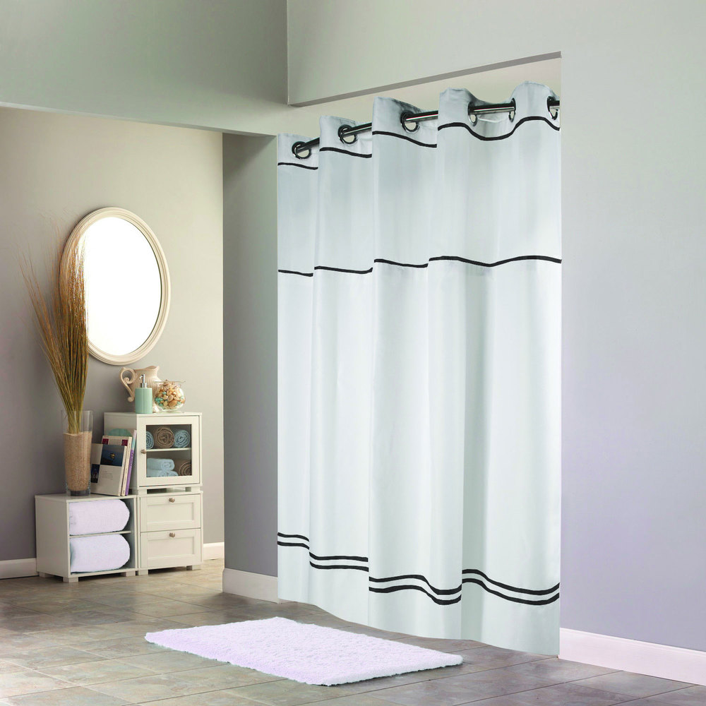 Black and white curtain - Hookless Hbh40mys0110sl74 White With Black Stripe Escape Shower Curtain With Chrome Raised Flex On Rings