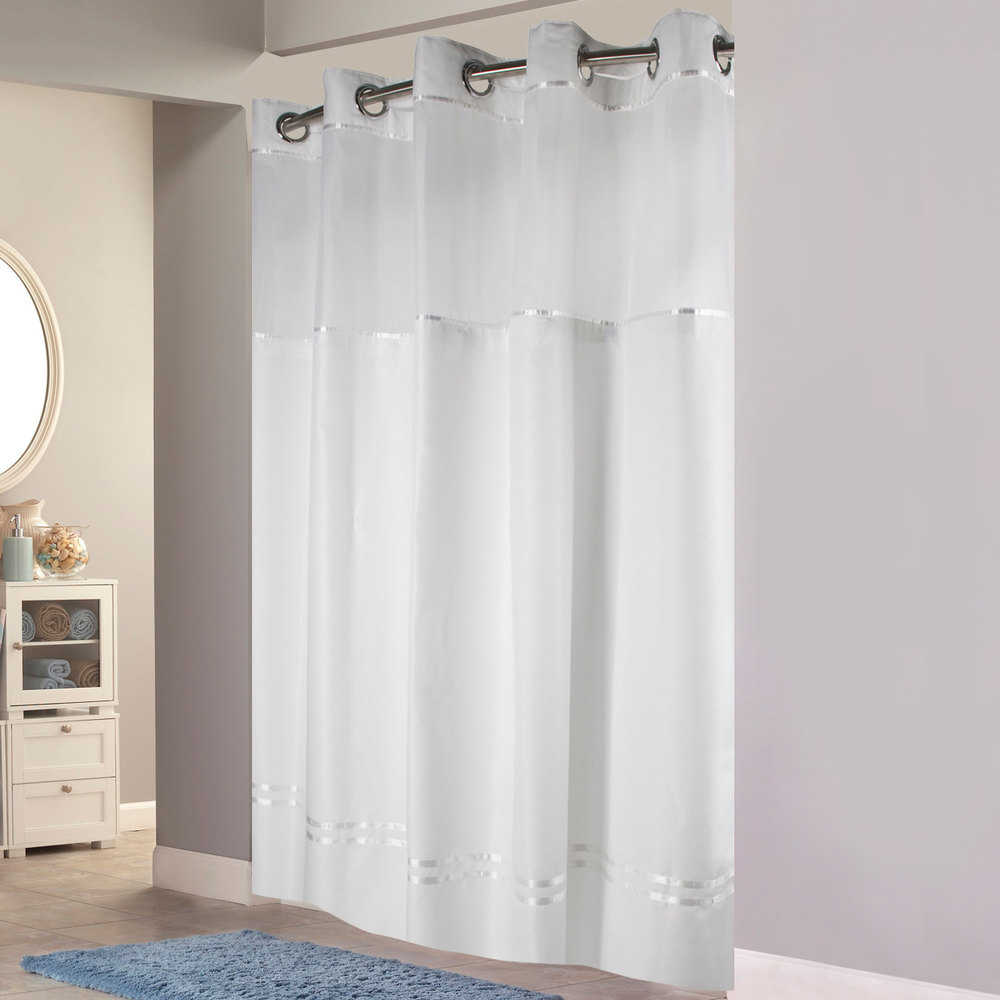 hookless white with white stripe escape shower curtain with chrome raised flexon rings