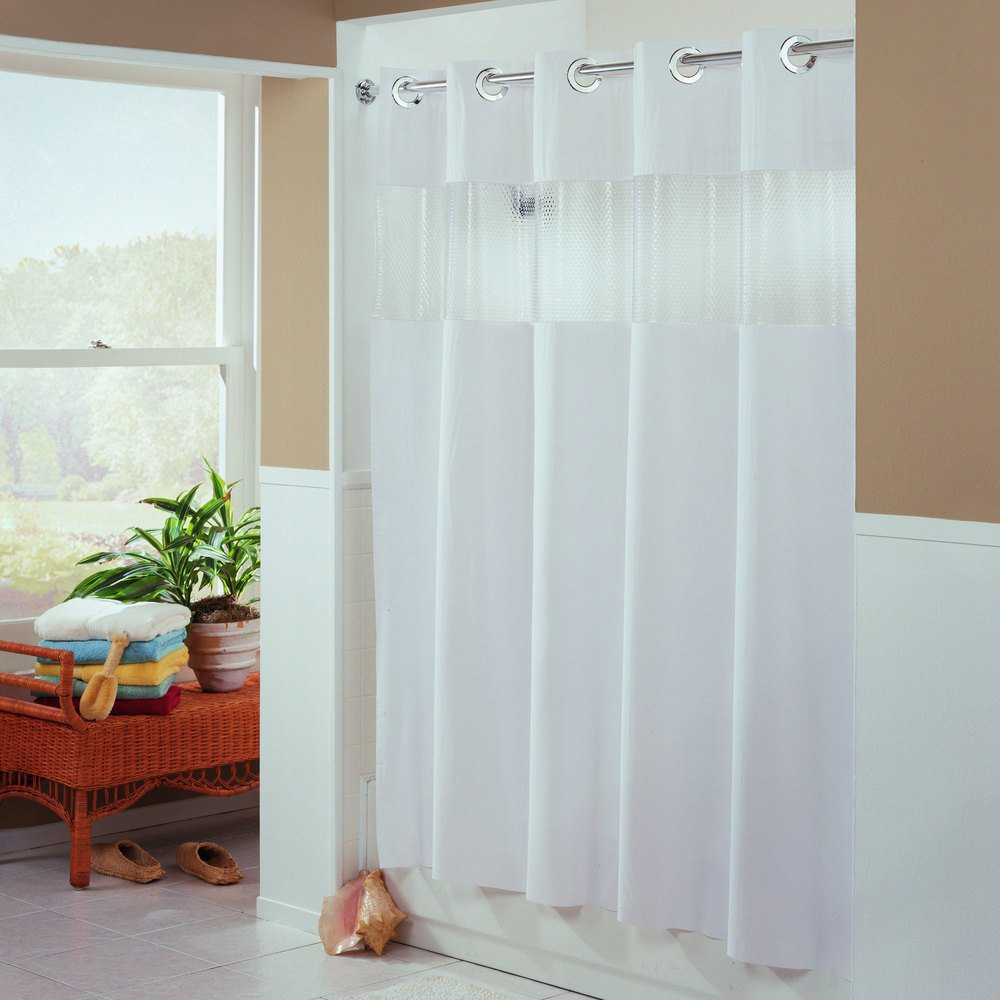 Hookless Hbh41bub01ws White The Major Shower Curtain With Matching Flat Flex On Rings Weighted