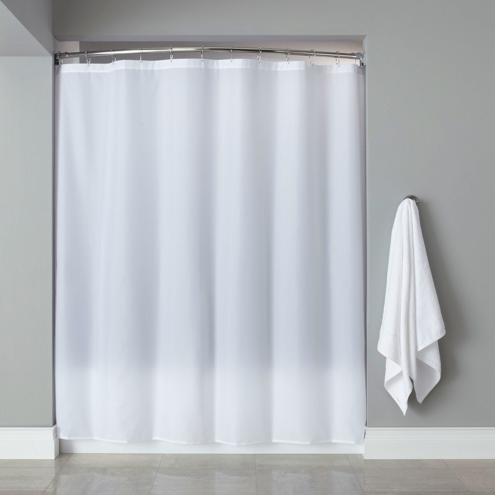 hooked hbb40plw0172 white basic polyester shower curtain with buttonhole header 72 x 72. Black Bedroom Furniture Sets. Home Design Ideas
