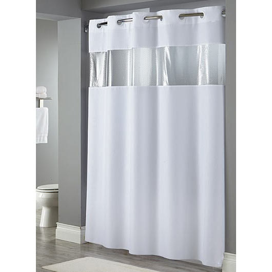 Hookless White The Major Shower Curtain With Matching Flat Flex On Rings Weighted Corner