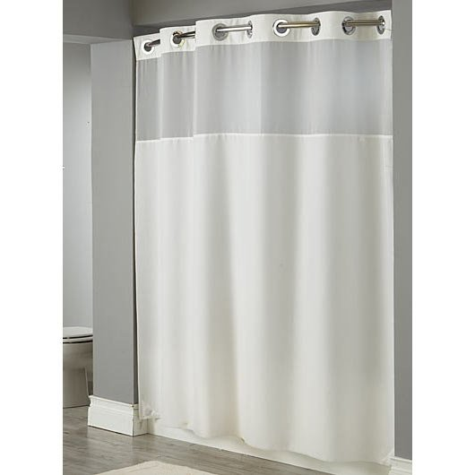 Hookless White Illusion Shower Curtain With Chrome Raised Flex On Rings It 39 S A Snap Polyester