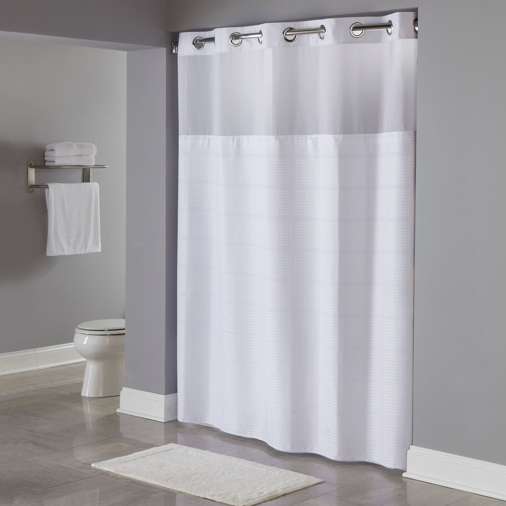 Hookless Hbh20mpt01sl White Repet One Planet Alexandria Shower Curtain With Chrome Raised Flex