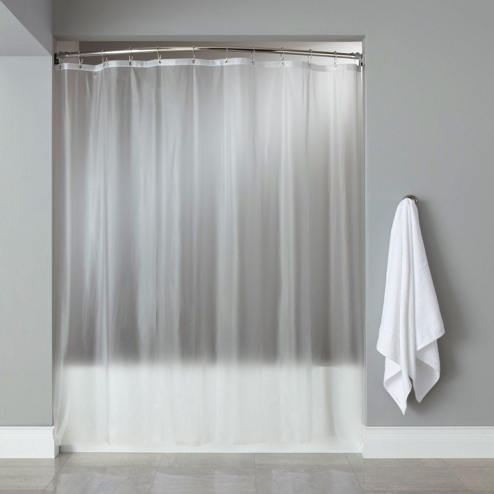 Hooked Frost 8 Gauge Vinyl Basic Shower Curtain With Chrome Plated Copper Grommets 72 X