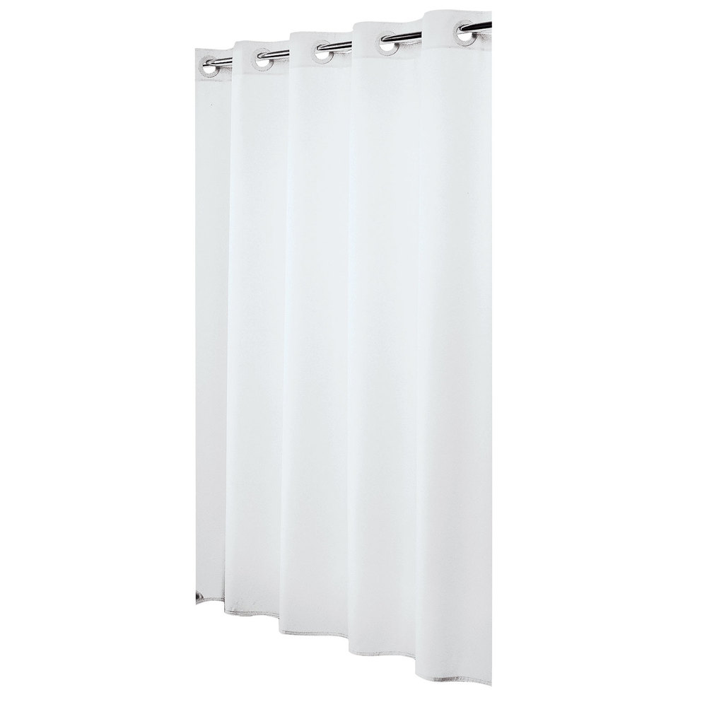 Hookless hbh31lin01 white nylon shower curtain with matching flat flex