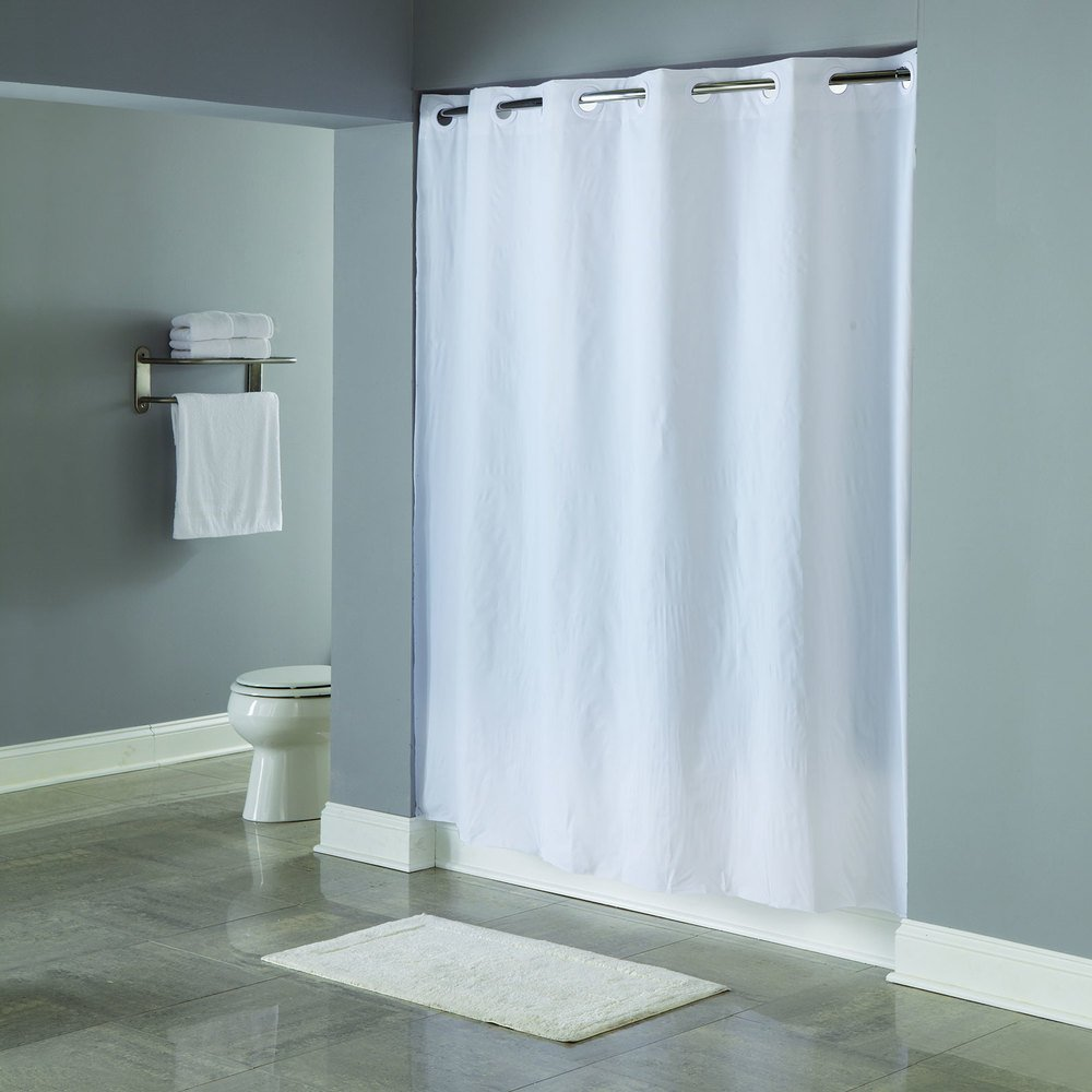 Hookless HBH16SND0174 White 5-Gauge PEVA One PLANET Shower Curtain ...