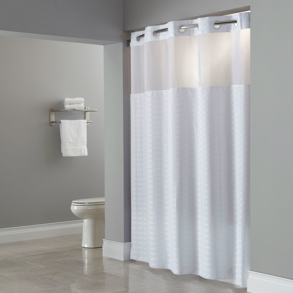 Hookless HBH43MYS01 White Madison Shower Curtain With
