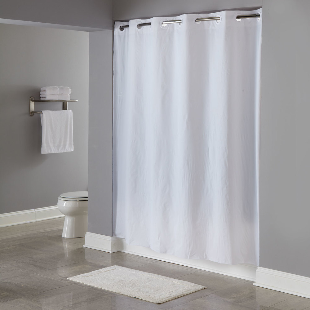 Hookless HBH04PDT01L White 8-Gauge Pin Dot Shower Curtain with ...