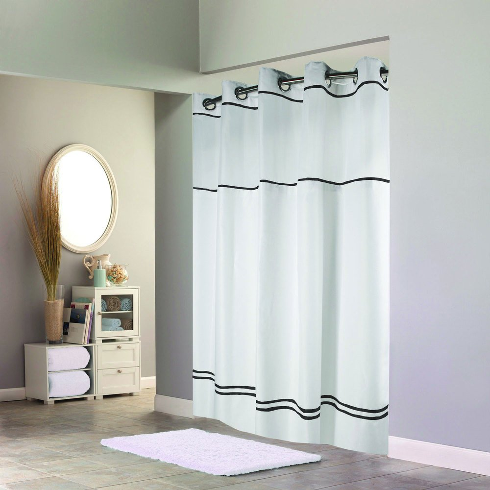 Hookless shower curtain - Hookless Hbh40mys0110sl77 White With Black Stripe Escape Shower Curtain With Chrome Raised Flex On Rings It S A Snap Polyester Liner With Magnets