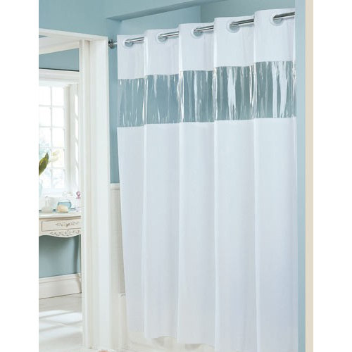 Hookless White 8 Gauge Vision Shower Curtain With Vinyl Window And Weighted Corner Magnets 71
