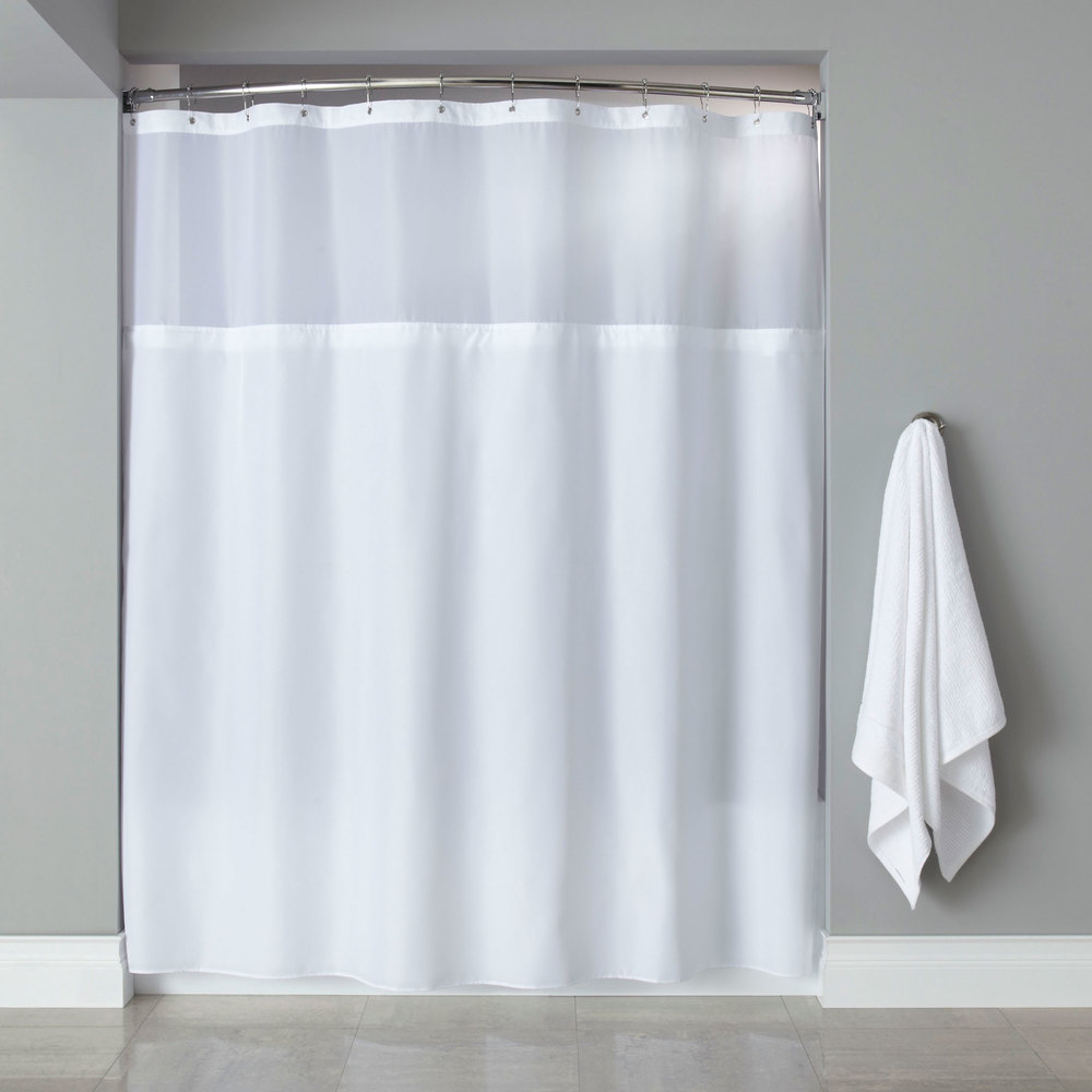 Hooked White Polyester Premium Shower Curtain with Buttonhole Header ...