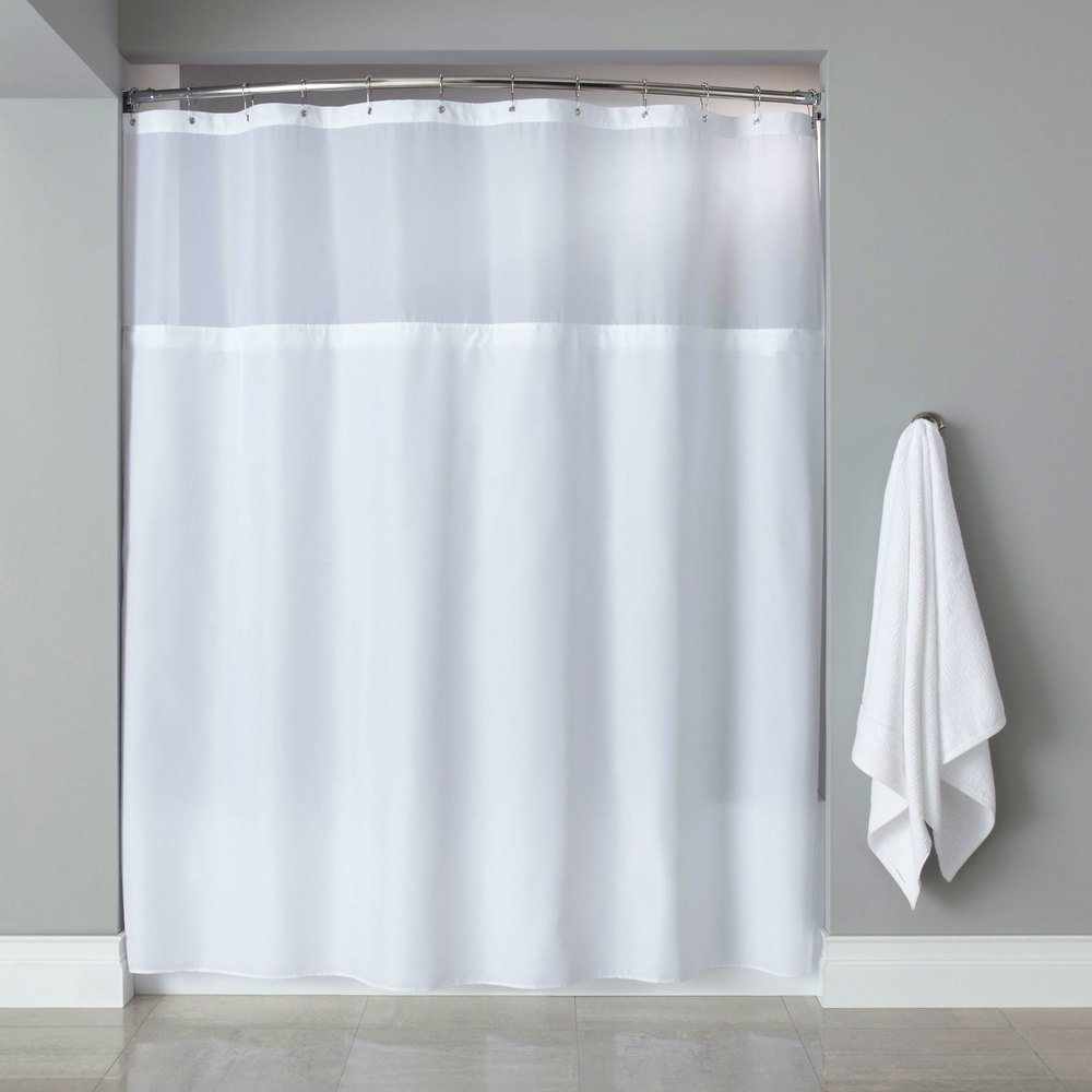 Hooked HBG40MYS01SL White Polyester Premium Shower Curtain