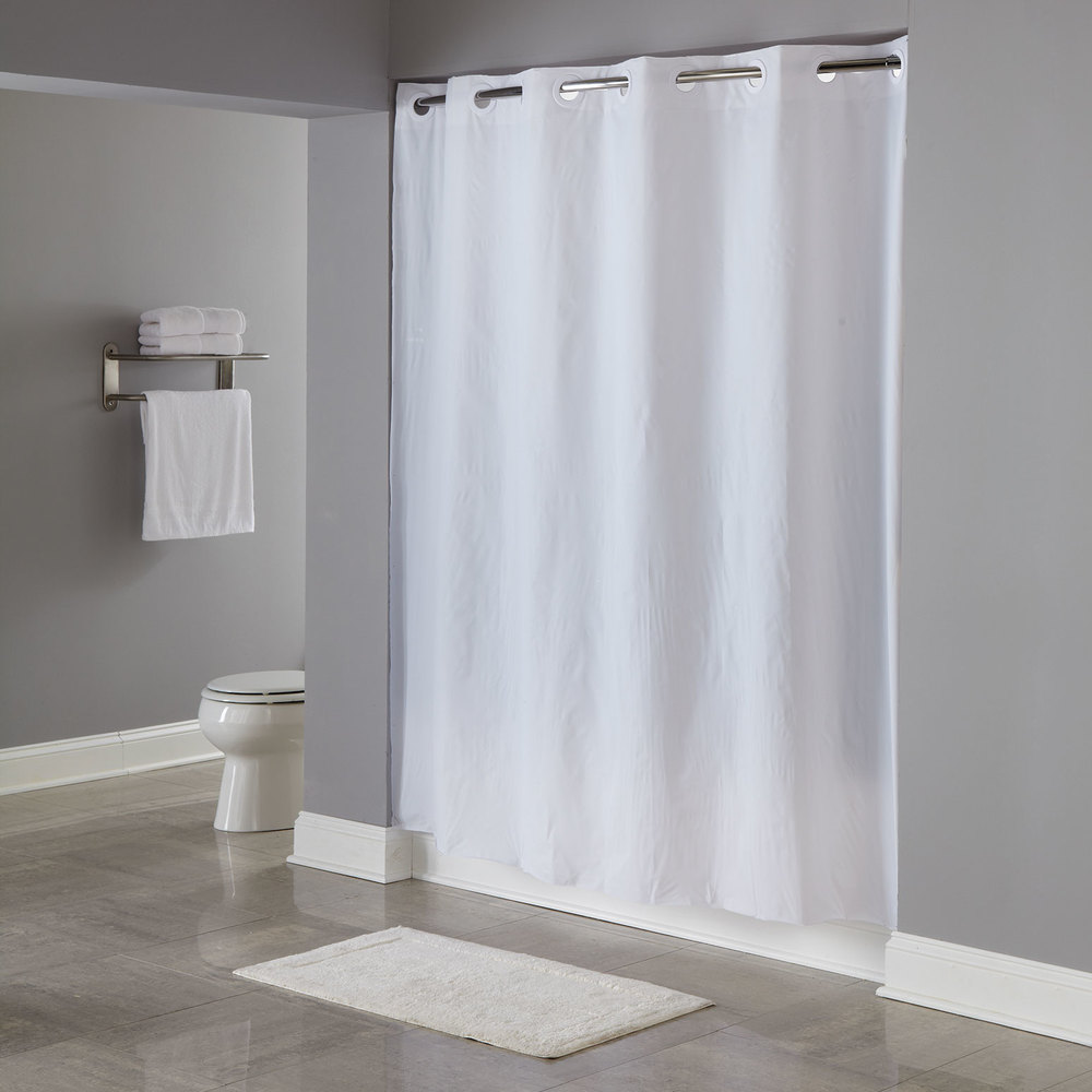 Hookless Hbh04pdt01 White 8 Gauge Pin Dot Shower Curtain With Matching Flat Flex On Rings And