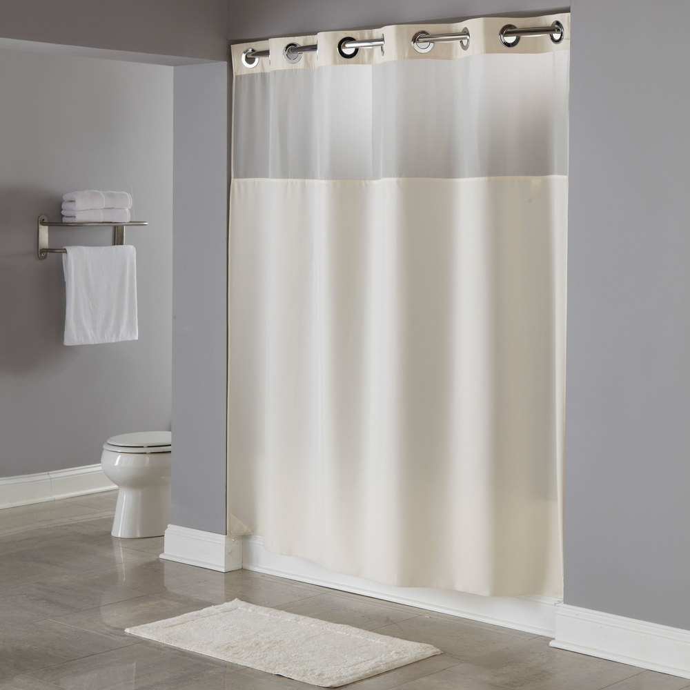 Hookless HBH49MYS05SL77 Beige Illusion Shower Curtain With Chrome Raised Flex On Rings Its A Snap Polyester Liner Magnets And Poly Voile
