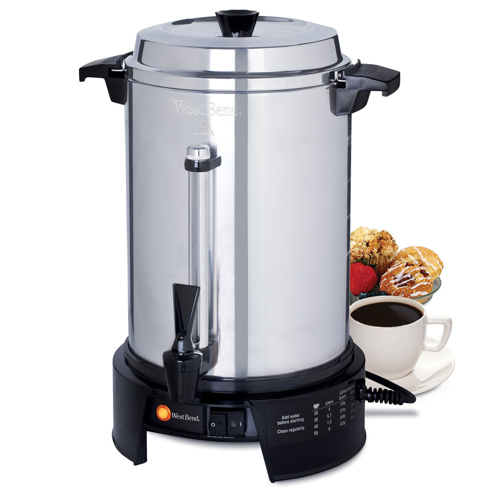 West bend 58015v commercial 55 cup aluminum coffee maker How to make coffee with a coffee maker