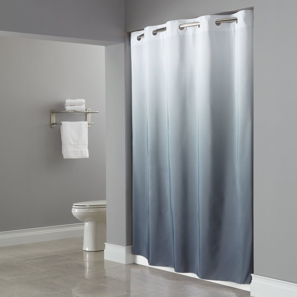 Green hookless shower curtain - Green Hookless Shower Curtain Hookless Hbh40grd0177 White Gray The Graduate Shower Curtain With Matching Flat