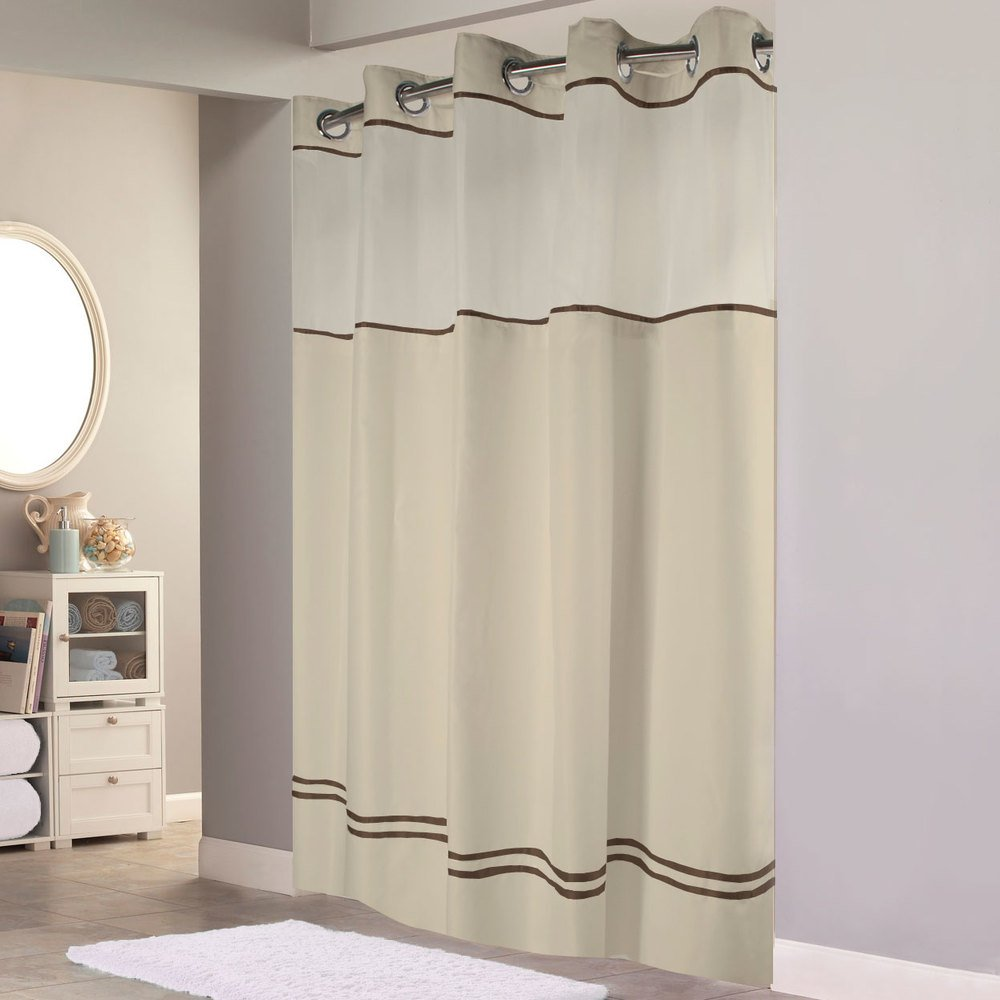 Hookless shower curtain with snap liner - Hookless Hbh40mys0529sl77 Sand With Brown Stripe Escape Shower Curtain With Chrome Raised Flex On Rings