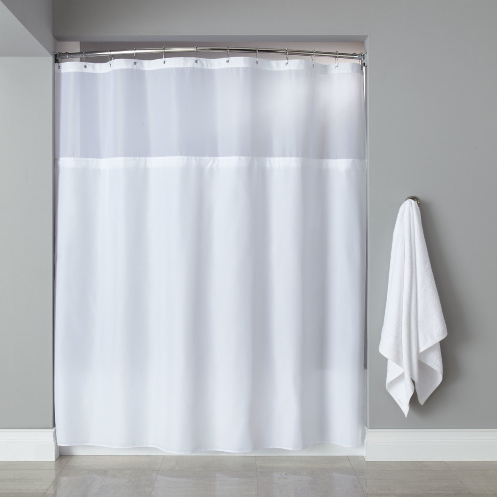 Hooked Hbg40mys01 White Polyester Premium Shower Curtain With Buttonhole Header Sheer Voile