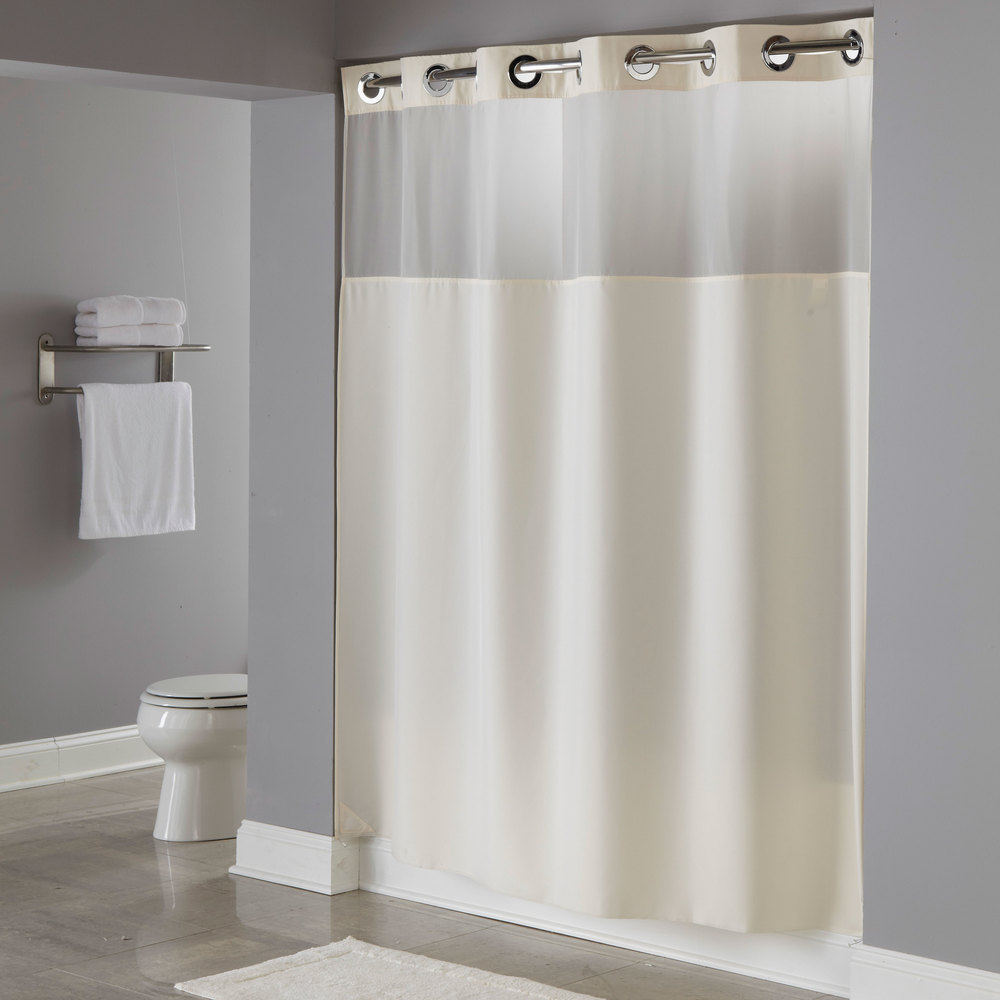 hookless hbh49mys05sl74 beige illusion shower curtain with chrome raised flex on rings it 39 s a. Black Bedroom Furniture Sets. Home Design Ideas