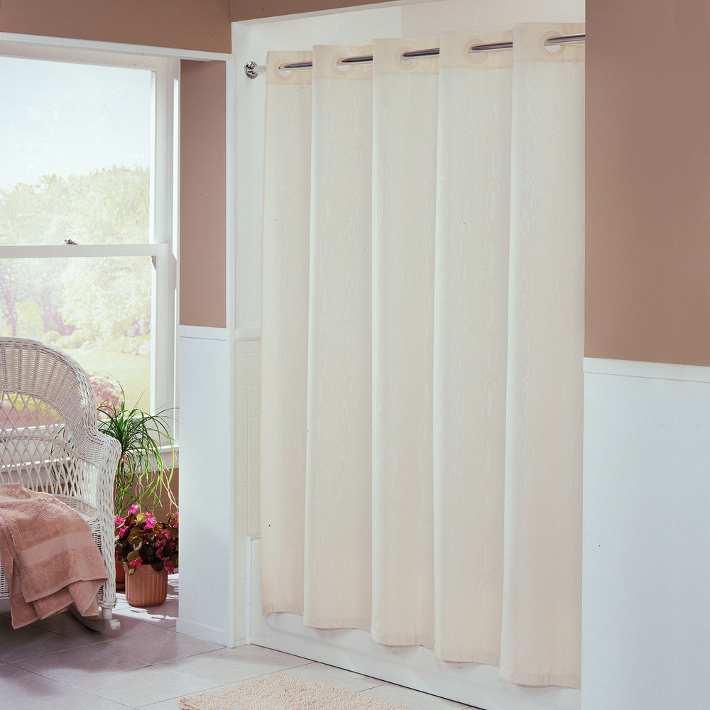 Hookless beige embossed moire shower curtain with matching flat flex