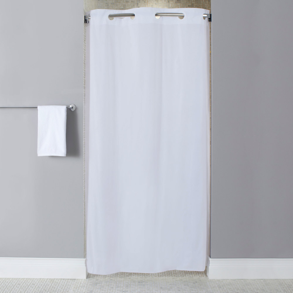 Hookless Hbh10ga014274 White Stall Size 10 Gauge Vinyl Shower Curtain With Matching Flat Flex On