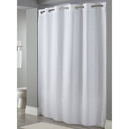 Hookless white litchfield shower curtain with matching flat flex on