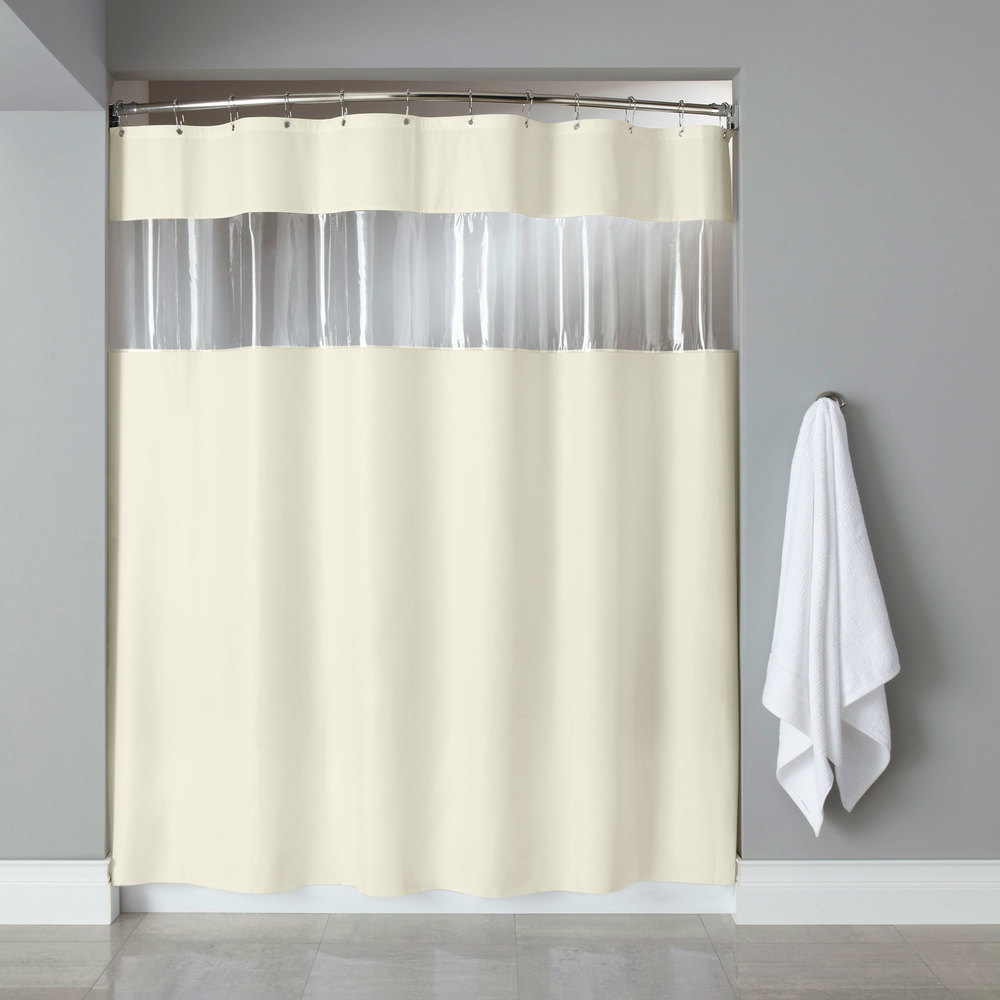 Hooked HBG03VIS0572 Beige 6-Gauge Vinyl Vision Shower Curtain with ...
