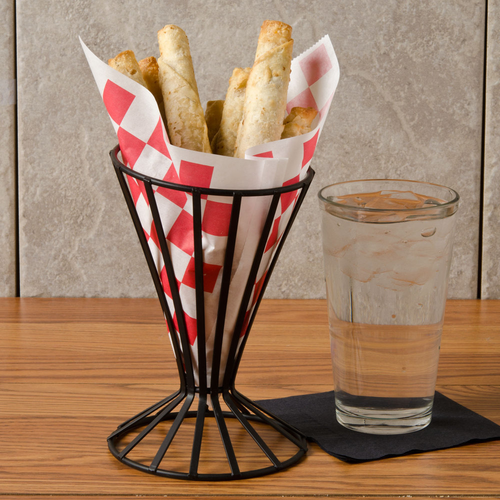 "Choice 7"" x 6 1/2"" Red Check Wire Cone Basket Liner / Deli Wrap / Double Open Bag - 2000/Case"