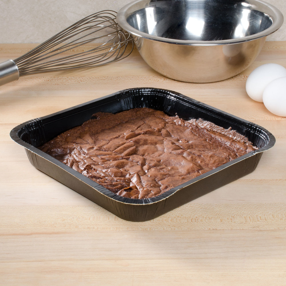"Solut 43345 8"" x 8"" Bake and Show Square Paperboard Brownie / Cake Pan Black - 250/Case"