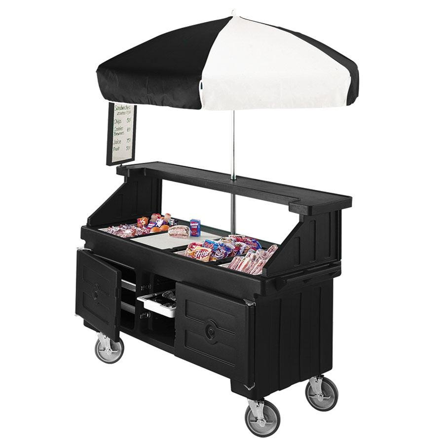 Cambro Camcruiser CVC724110 Black Customizable Vending Cart with Umbrella and 4 Counter Wells