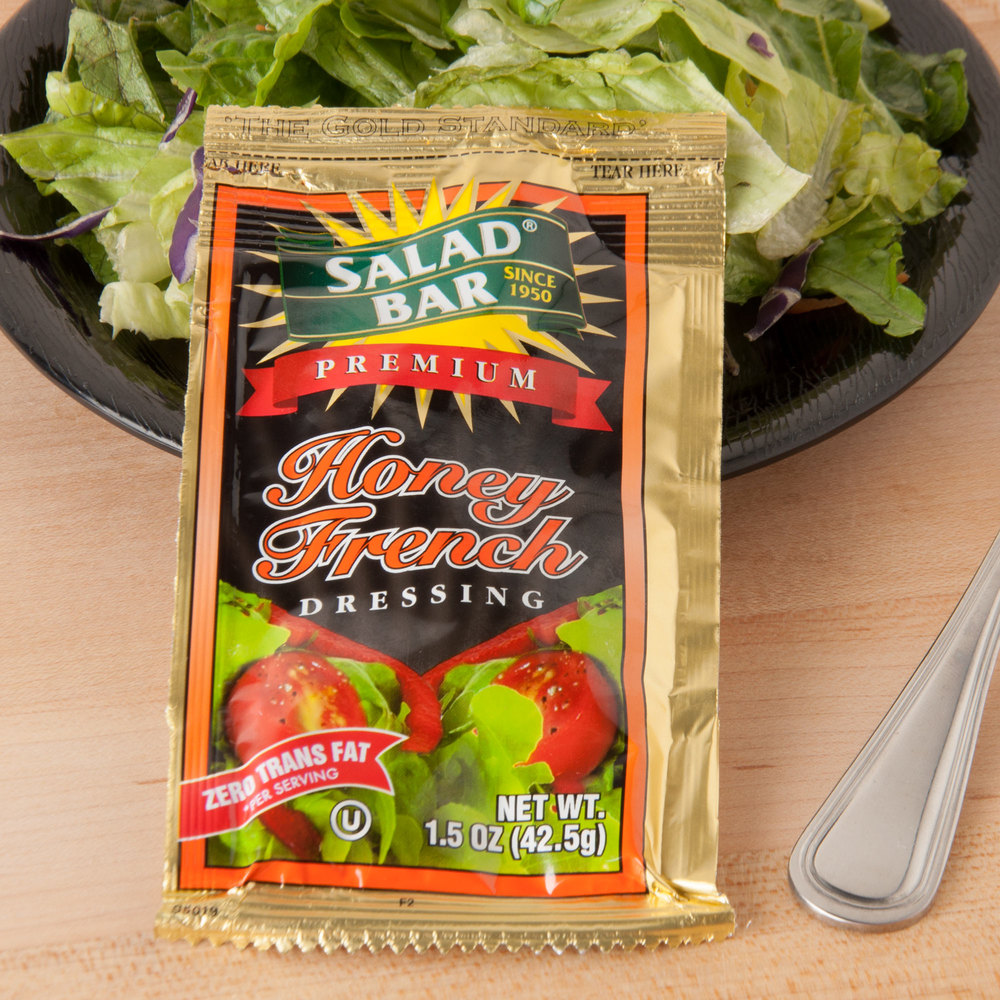 Salad Bar Honey French Dressing - (60) 1.5 oz. Portion Packets / Case - 60/Case