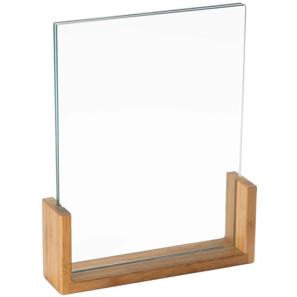 "Cal-Mil 1510-811-60 U-Frame Bamboo Base 9"" x 1 1/2"" x 12"" Displayette with Acrylic Insert"