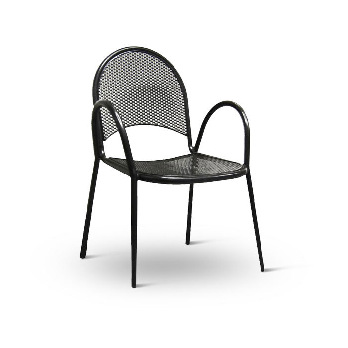 American Tables and Seating 90B Metal Black Outdoor Chair with Mesh Design